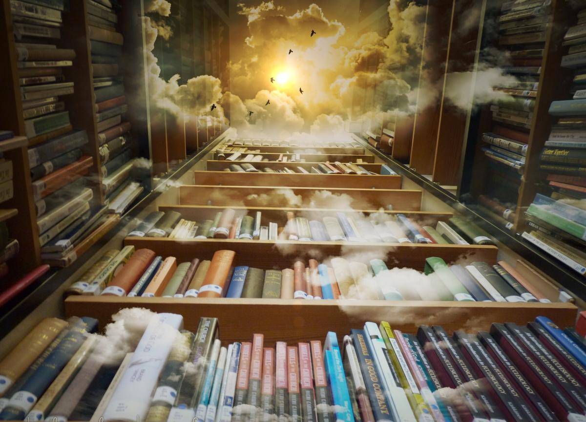 Bücherregal, Wolken, Sonne